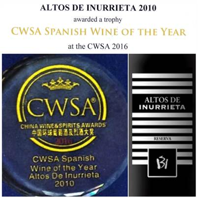"""Altos de Inurrieta"" chosen Spanish Wine of the year"
