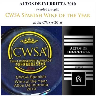 «Altos de Inurrieta»elegido vino español del año 2016.