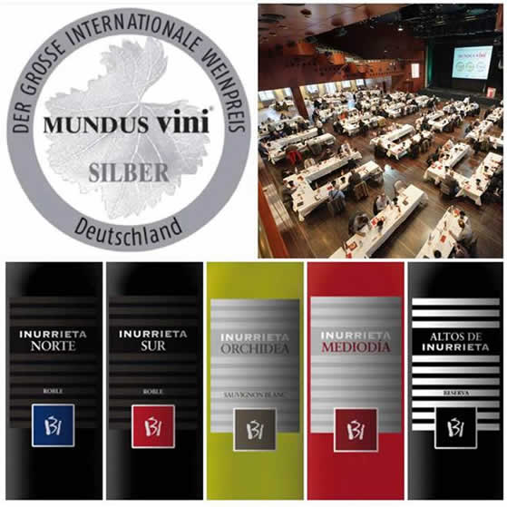 Five silver medals for Bodega Inurrieta at Mundus Vini 2016.