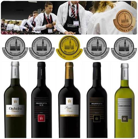 Five medals for Bodega Inurrieta at the Concours Mondial de Bruxelles.