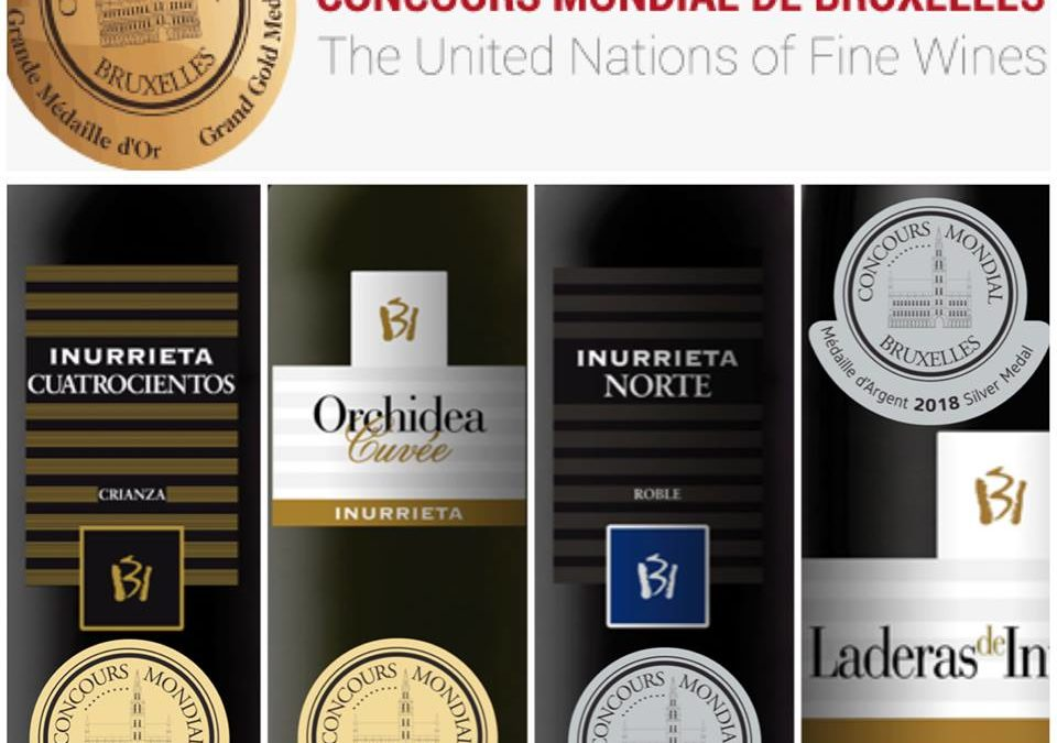 Two Gold Medals, and Two Silver Medals for the wines of Bodega Inurrieta at the Concours Mondial de Bruxelles.