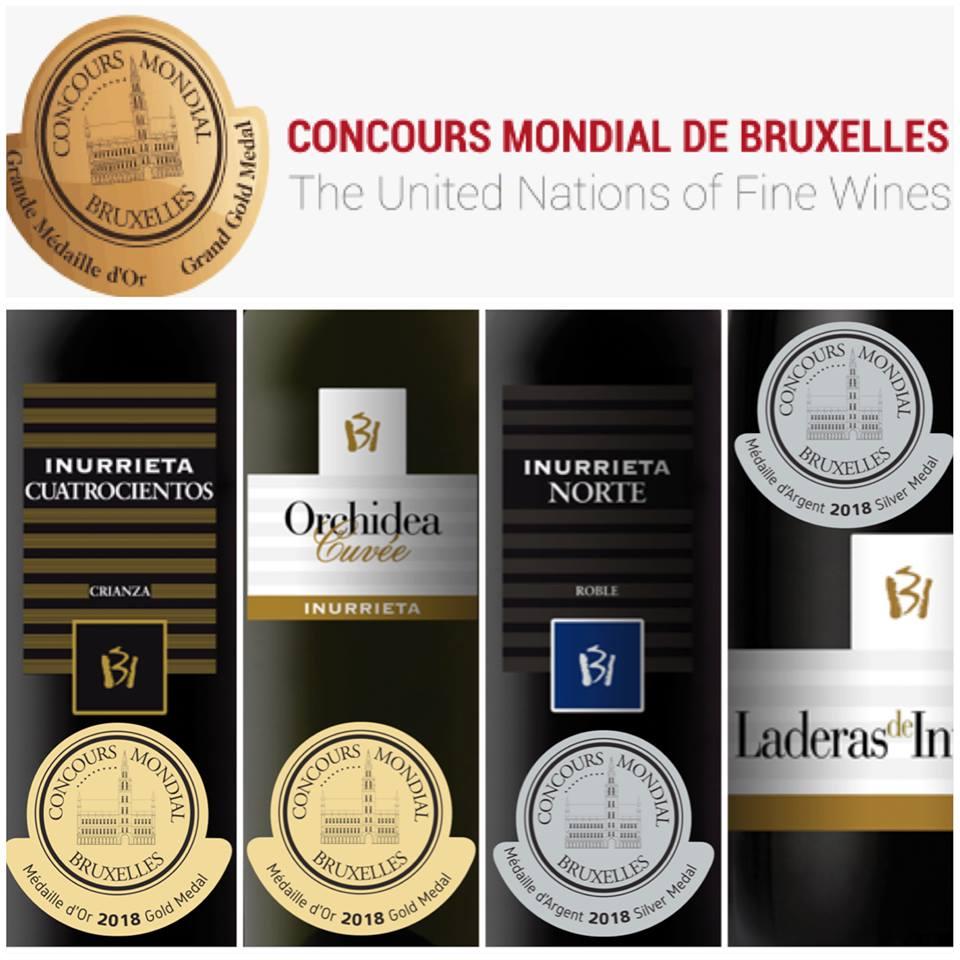 Dos Medallas de Oro, y Dos Medallas de Plata para los vinos de Bodega Inurrieta en el Concours Mondial de Bruxelles.