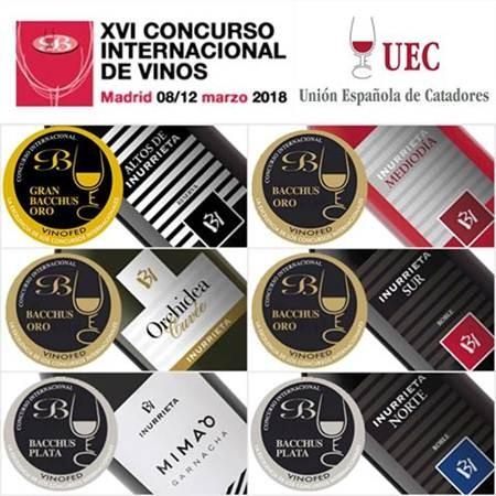 Seis medallas para Bodega Inurrieta en el XVI Concurso Internacional de Vinos Bacchus.