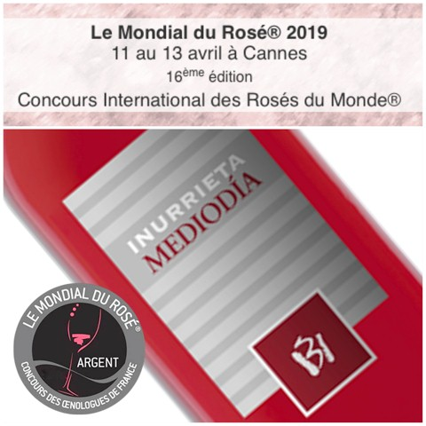 Silver Medal for Inurrieta Mediodía at Le Mondial du Rosé 2019