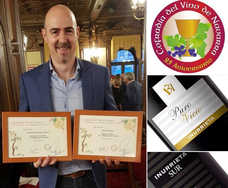 Inurrieta Sur e Inurrieta Puro Vicio premiados en el Concurso Calidad de Vinos D.O. Navarra