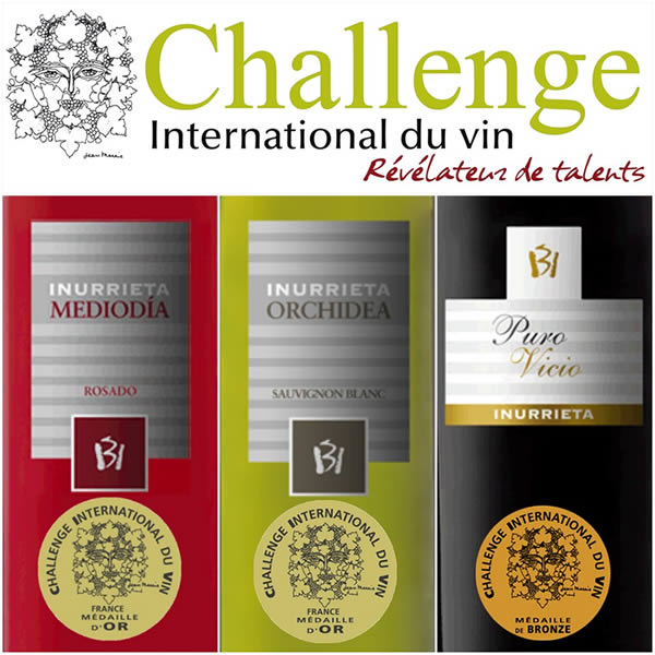 Two Gold Medals and one Bronze Medal for Bodega Inurrieta at Challenge International du Vin